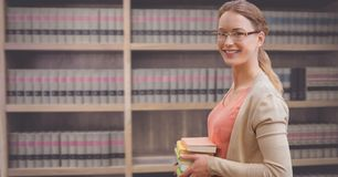 Student woman in education library. Digital composite of Student woman in education library stock photo