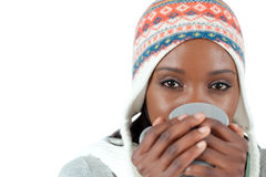 Student woman enjoying a cup of tea in the cold Royalty Free Stock Photos