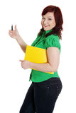 Student woman gesturing OK. Stock Image
