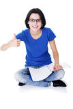 Student woman gesturing thumbs up Stock Images