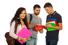 Student woman and her colleagues Royalty Free Stock Photo