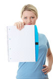 Student woman holding blank copybook Stock Photography