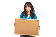Student woman holding the empty corkboard Royalty Free Stock Photo