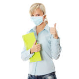 Student woman with mask Royalty Free Stock Photo