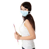 Student woman with mask on her face Royalty Free Stock Images