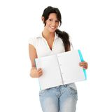 Student woman with note pad Stock Photo