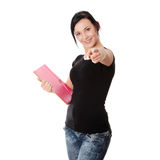 Student woman with note pad Royalty Free Stock Images