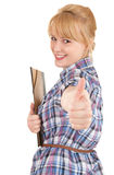 Student woman with note pad and thumb up Royalty Free Stock Images