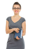 Student woman with notebook and pen Royalty Free Stock Photography