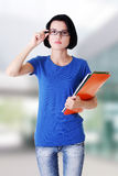 Student woman with notebooks Royalty Free Stock Images