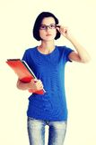 Student woman with notebooks Stock Image