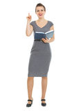 Student woman with notepad got idea Stock Images