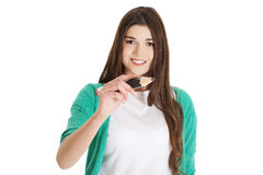 Student woman with pencil Royalty Free Stock Images