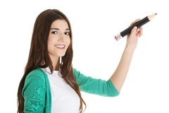 Student woman with pencil Stock Photography