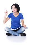 Student woman pointing on copy space. Royalty Free Stock Images