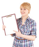 Student woman pointing something on clipboard Royalty Free Stock Photos