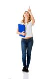 Student woman showing copyspace Royalty Free Stock Photo