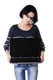 Student woman showing her laptop.  royalty free stock image