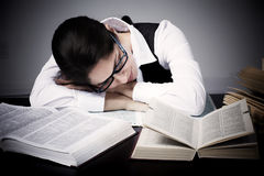 Student woman sleeping. Royalty Free Stock Photo