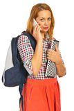 Student woman speaking by phone Stock Photo