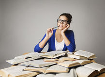 Student Woman Thinking Open Books, Pondering Girl Glasses Royalty Free Stock Photo