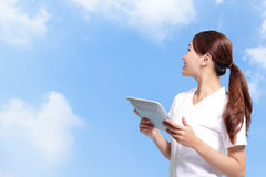 Student woman using digital tablet Royalty Free Stock Photography