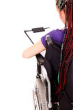 Student woman on wheelchair Royalty Free Stock Images