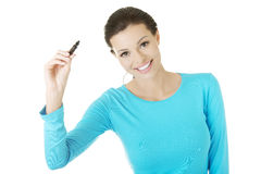 Student woman writing something on abstract screen Stock Image