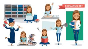 Student Women. Of Education set. Holding megaphone. Graduation, reading in the library, classroom lessons, Using computer, Student activity concept. character stock illustration