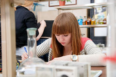 A student at work in laboratory of chemistry studies Stock Image