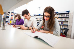 Student at work in a library Royalty Free Stock Photos