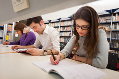Student at work in a library Stock Images