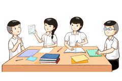 Student work together in group. Illustration Stock Images