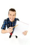 Student with workbook and pen Royalty Free Stock Photos