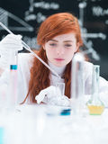 Student working in a chemistry lab Stock Image