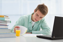 Student working on computer Stock Image