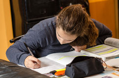 Student working her lesson Stock Images