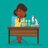 Student working at laboratory class. Disappointed student carrying out experiment in chemistry class. An african-american student clutching head after failed Stock Photo