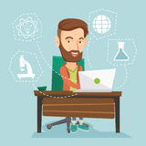 Student working on laptop vector illustration. Royalty Free Stock Photo