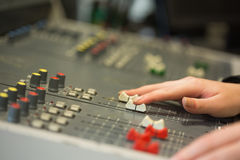 Student working on sound mixer Stock Image