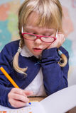 Student works in a school classroom, child at school, Royalty Free Stock Images