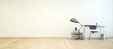 Student workspace in a minimalist room Royalty Free Stock Photo