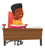 Student writing at the desk vector illustration. Royalty Free Stock Photo