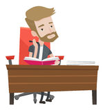 Student writing at the desk vector illustration. Stock Images