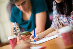 Student writing her task Royalty Free Stock Photography