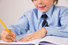Student writing notes in notepad Royalty Free Stock Photo