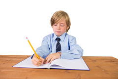 Student writing notes in notepad Royalty Free Stock Photography