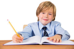 Student writing notes in notepad. On white background Royalty Free Stock Photography