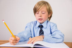 Student writing notes in notepad. On white background Stock Image