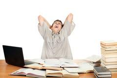 Student Yawning Royalty Free Stock Image